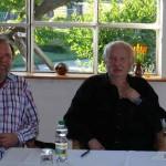 Heinz Kahlau und Roland Oesker im Atelier auf dem Kunsthof-Usedom